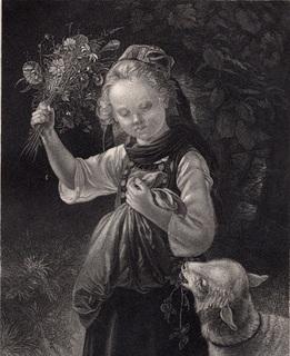 Старинная гравюра. 185. годa. Домашний ягненок. Пейн. (23,5х17см.).