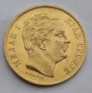 Сербия 10 динаров, 1882 г.