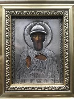 Икона Св. Владимир в серебряном окладе 84 пробы