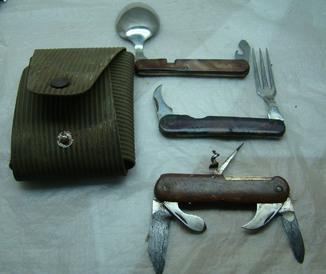 Набор: ложка, вилка, нож  складной с чехлом 1959год