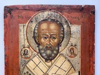 Старинная икона Николай Чудотворец