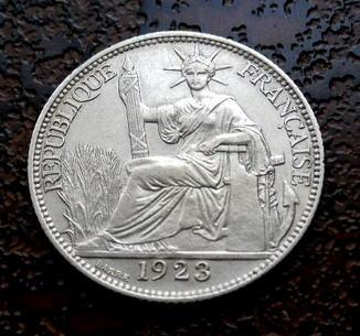 20 центов Французский Индокитай 1923 состояние UNC серебро