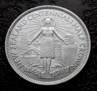 1/2 кроны Новая Зеландия 1940 юбилейная состояние aUNC серебро