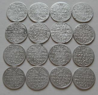 Трояки 1600-х годов. Сиг. ІІІ Ваза ( погодовка и разновидности  ), 16 шт.
