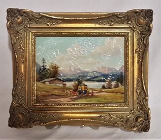 Картина. Масло. Подпись автора A.Zelzmann Австрия