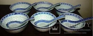 Салатники с  ложками знаменитый рисовый фарфор 6+6