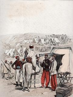 Старинная хромолитография. 1886 год. Франция.  Лагерь зуавов. (36х28см.).