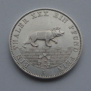 1862 г - талер Анхальт горный,Мишка,серебро