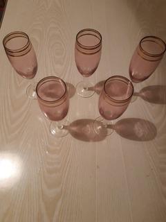 5 шт бокалов. Цветное стекло с позолотой.