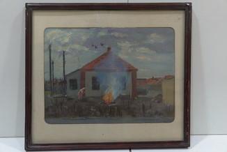 Картина Городской пейзаж. Дом. Пожар, огонь. масло картон