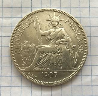 1 пиастр 1907г ИндоКитай