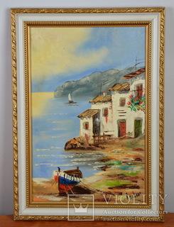"""Картина маслом """"Домик у моря"""" Красивая рама."""