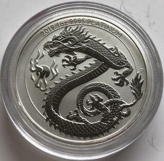50 $ 2019 год Австралия «Дракон» платина 31,1 грамм 999,5'