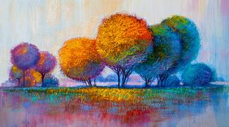 60х33 см. Картина печать на холсте деревья