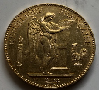 100 франков 1878 год Франция золото 32,23 грамма 900'