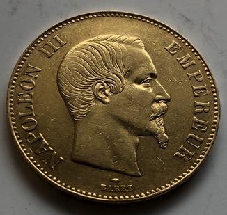 100 франков 1855 год Франция золото 32,23 грамма 900'