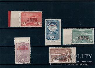 СССР, 1939г.,«День авиации», №601-604а,605,MNH,полн. серия с разнов., RR