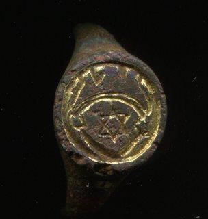 Щиток еврейского печатного перстня со звездой Давида, иудаика, 16 век