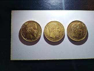 3 монеты по 20 франков Франция, Бельгия 1860, 1866, 1875 г.