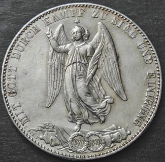 1 талер 1871 г , Вюртемберг,  Победа во Франко-Прусской войне, XF