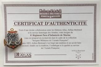 Франция. Полковой знак. 8-й пехотный парашютный полк марин. Atlas. С сертификатом.