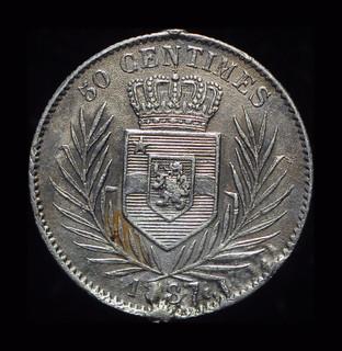 Бельгийское Конго 50 сантим 1887 серебро