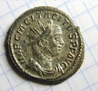 Император Тацит, реверс - PAX AVG, остатки серебрения