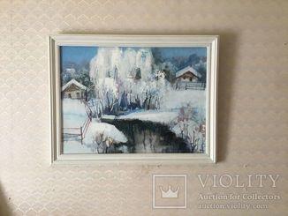 "Старая картина картон, масло ""Зимний пейзаж"" Ф. М. Полонский."