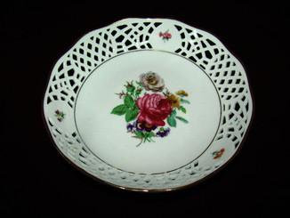 Блюдо тарелка ажурный фарфор очаровательная роспись клеймо Германия