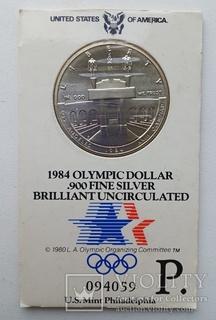 1 Доллар 1984 ( 0,900 серебро 26,7 ) США UNC