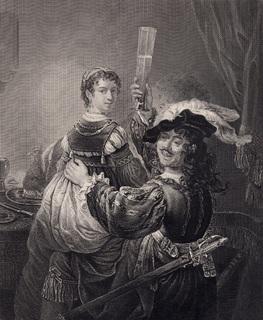 Старинная гравюра. 1860 годa. Рембрант со своей женой. Пейн. (26х20см.).