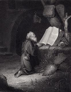 Старинная гравюра. 1860 годa. Отшельник. Пейн. (26х20см.).