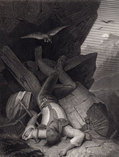 Старинная гравюра. 1860 годa. Потерянный. Пейн. (27х21см.).