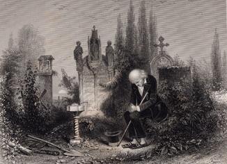 Старинная гравюра. 1860 годa. Последний из своего племени. Пейн. (27х20см.).