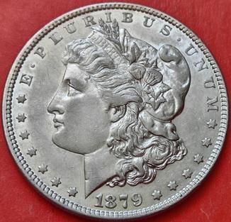 1 Доллар 1879 год , Морган, Серебро. AU