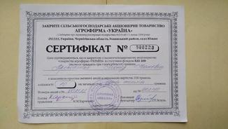"""Сертифікат акцій Агрофірма """"Україна"""" 10 шт. На суму 1000 грн."""