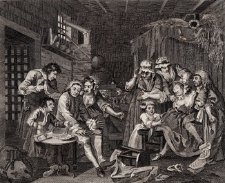 Старинная гравюра. 1809 годa. Карьера мота. Изд. Хогарта. 1 (27,5х22см.).
