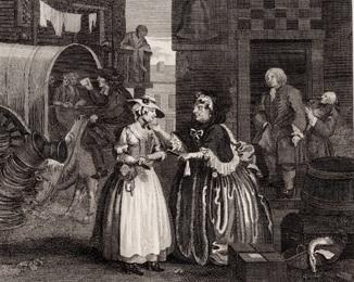 Старинная гравюра. 1809 годa. Карьера проститутки. Изд. Хогарта. 2 (28х22см.).