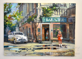 "Картина, масло, холст  ""Дева и такси"" 55х75"