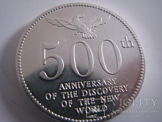 Настольная медаль 500 лет США.Серебро.40г