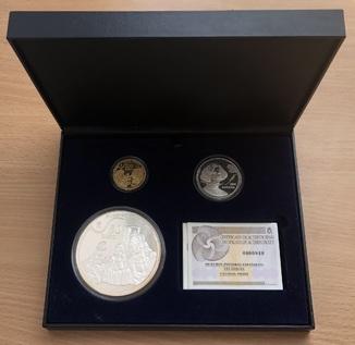 Набор монет 10, 50, 200 евро 2008 года. Испания. Золото/серебро