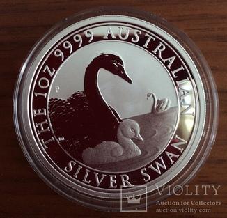 Австралия 1 доллар 2019 г. Лебедь . серебро 999 пробы унция в капсуле т. 25000 штук