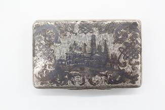Серебряная табакерка 84, чернение, красивый штихель