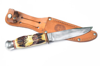 Охотничий нож: рукоять резьба по оленьему рогу, Германия
