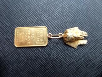 Золотой кулон Клеопатра + банковский слиток 5 грамм 999.9 пр
