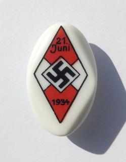 Знак Hitlerjugend 1934 . Фарфор клеймо 23