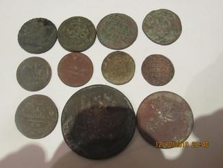 Медные царские монеты 11 штук