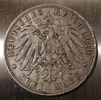 Німецька імперія 3 марки, 1910
