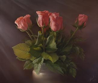 """Розы"" А.Левин 65х75 см. холст/масло"