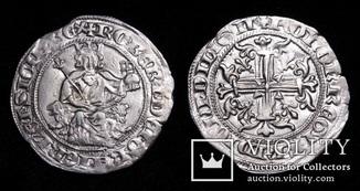 Король Неаполю Роберт І Мудрий, срібний джильято, 1330р.